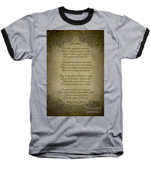 Invictus By William Ernest Henley Baseball T-Shirt by Olga Hamilton
