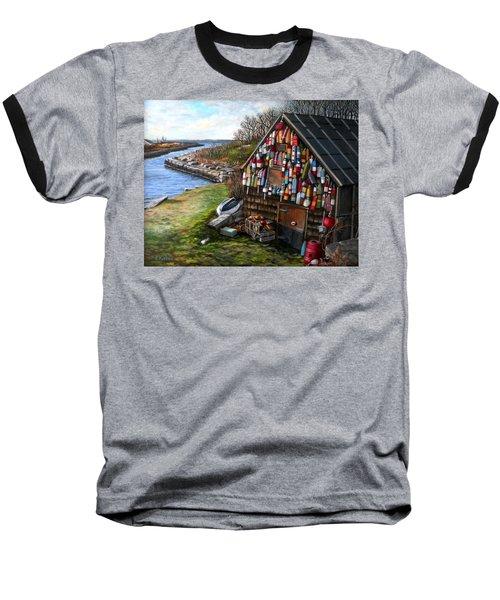 Ipswich Bay Wooden Buoys Baseball T-Shirt by Eileen Patten Oliver