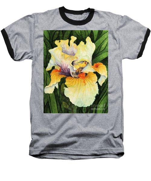 Baseball T-Shirt featuring the painting Iris Elegance by Barbara Jewell
