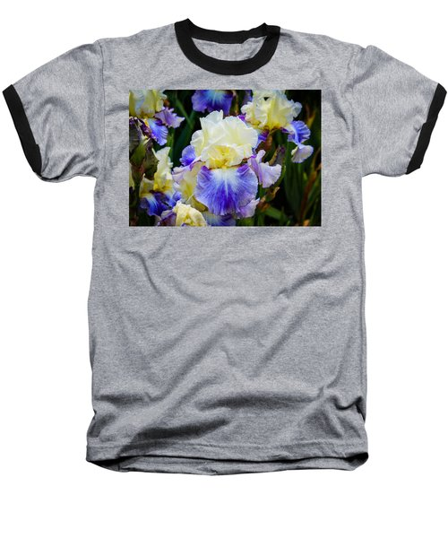Baseball T-Shirt featuring the photograph Iris In Blue And Yellow by Patricia Babbitt