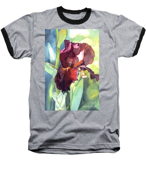 Watercolor Of A Tall Bearded Iris Called Sultan's Palace In Red And Burgundy Baseball T-Shirt