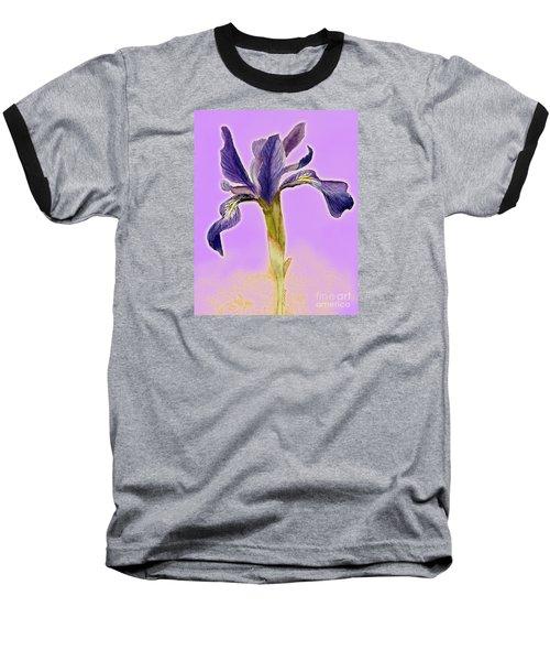 Iris On Lilac Baseball T-Shirt by Barbie Corbett-Newmin