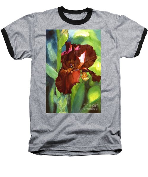Watercolor Of A Tall Bearded Iris In Sienna Red Baseball T-Shirt