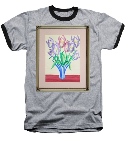 Irises Baseball T-Shirt by Ron Davidson