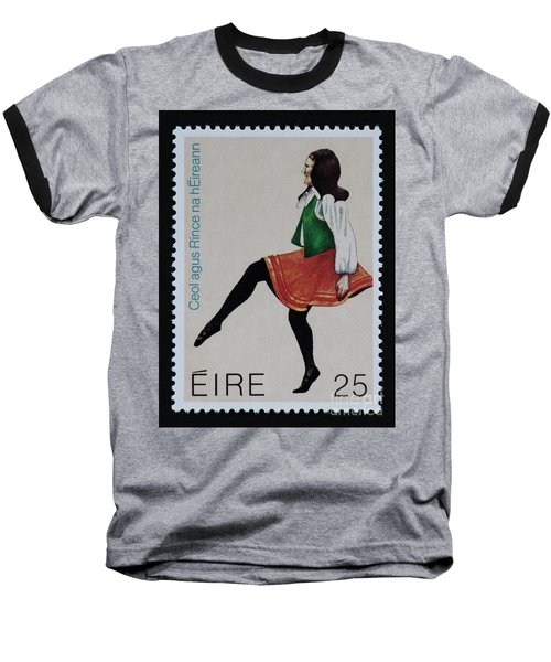 Irish Music And Dance Postage Stamp Print Baseball T-Shirt by Andy Prendy