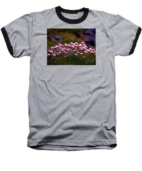 Irish Sea Pinks Baseball T-Shirt by Patricia Griffin Brett