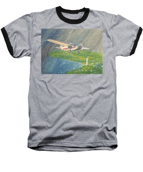 Island Airlines Ford Trimotor Over Put-in-bay In The Winter Baseball T-Shirt by Frank Hunter