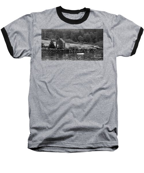 Island Shoreline In Black And White Baseball T-Shirt