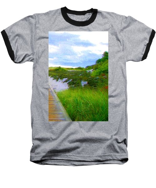 Island State Park Boardwalk Baseball T-Shirt by Pamela Hyde Wilson