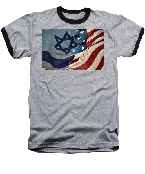 Israeli American Flags Baseball T-Shirt