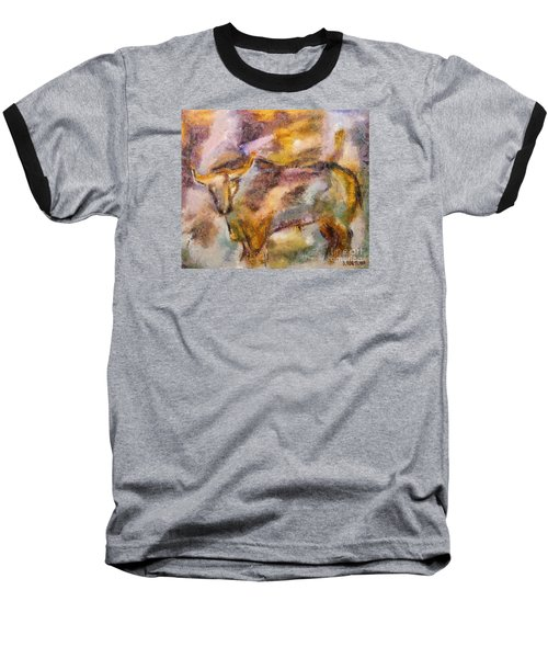 Baseball T-Shirt featuring the painting Istrian Bull -  Boshkarin by Dragica  Micki Fortuna