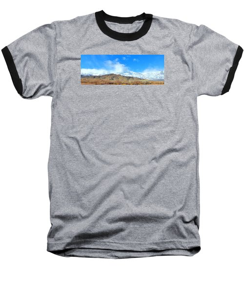 Baseball T-Shirt featuring the photograph It Snowed Last Night by Marilyn Diaz