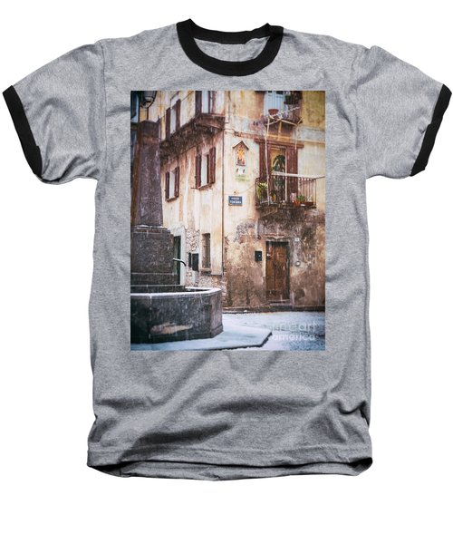 Baseball T-Shirt featuring the photograph Italian Square In  Snow by Silvia Ganora