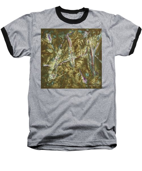 Baseball T-Shirt featuring the painting It's Crazy Out There by Mini Arora
