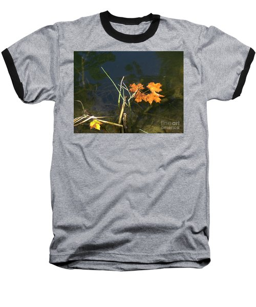 It's Over - Leafs On Pond Baseball T-Shirt by Brenda Brown