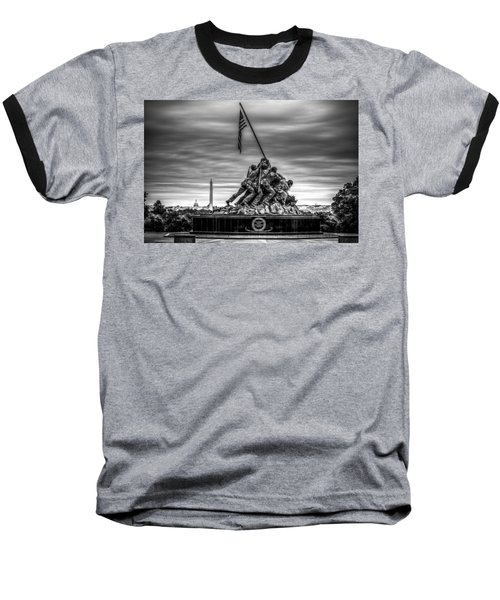 Iwo Jima Monument Black And White Baseball T-Shirt