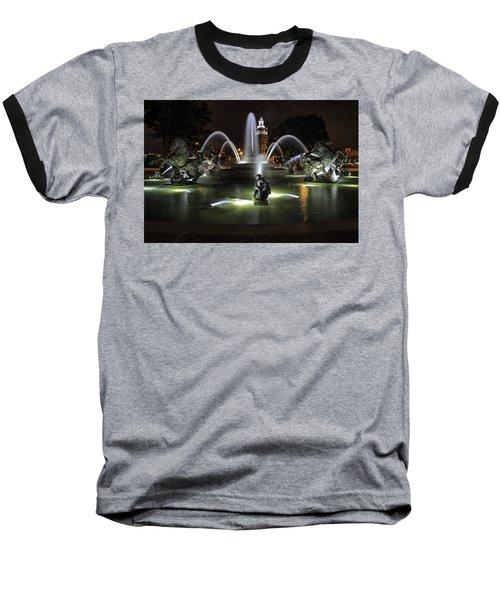 J C Nichols Fountain Baseball T-Shirt by Lynn Sprowl