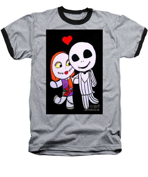 Baseball T-Shirt featuring the painting Jack And Sally by Marisela Mungia