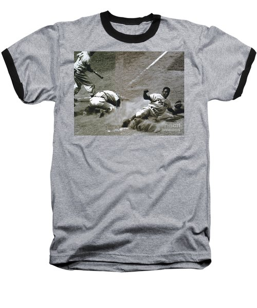 Jackie Robinson Sliding Home Baseball T-Shirt by R Muirhead Art