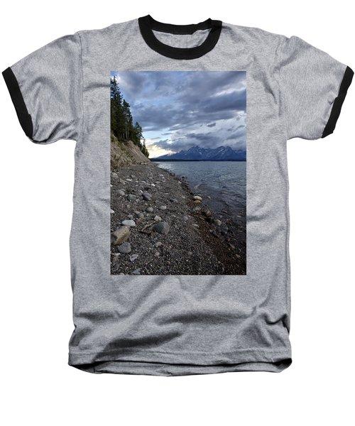 Baseball T-Shirt featuring the photograph Jackson Lake Shore With Grand Tetons by Belinda Greb