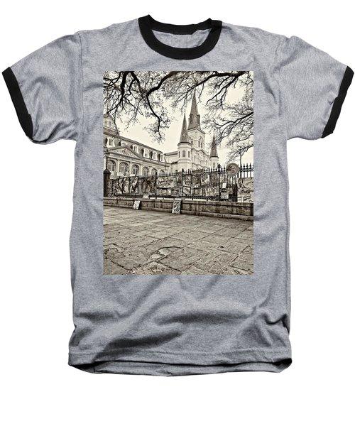 Jackson Square Winter Sepia Baseball T-Shirt