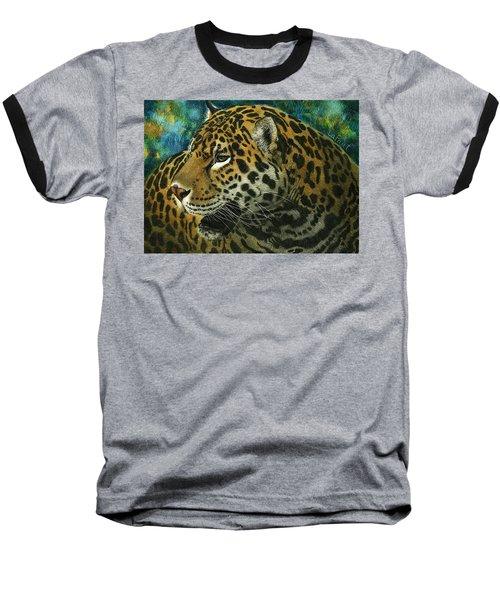 Baseball T-Shirt featuring the mixed media Jaguar by Sandra LaFaut