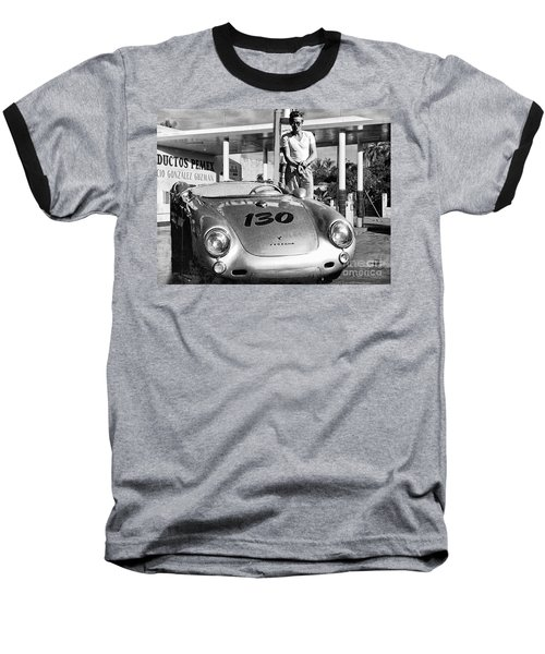 James Dean Filling His Spyder With Gas Black And White Baseball T-Shirt by Doc Braham