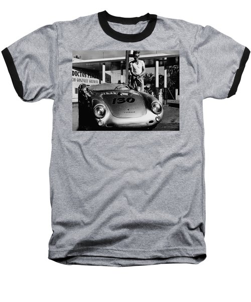James Dean Filling His Spyder With Gas In Black And White Baseball T-Shirt by Doc Braham
