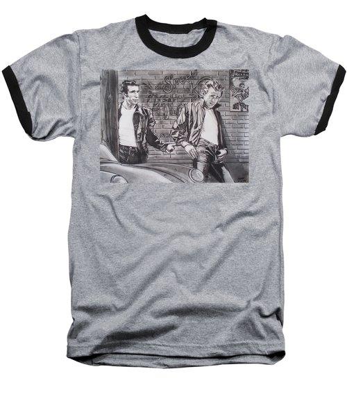 James Dean Meets The Fonz Baseball T-Shirt by Sean Connolly