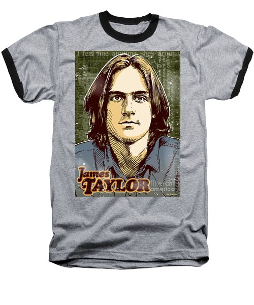 James Taylor Pop Art Baseball T-Shirt by Jim Zahniser