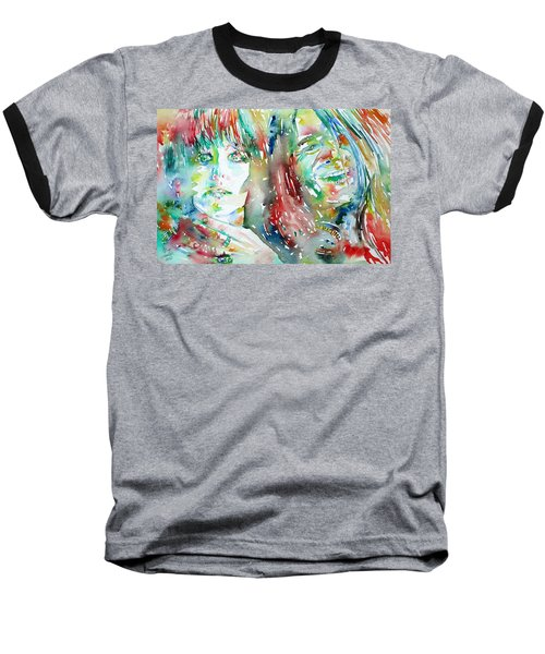 Janis Joplin And Grace Slick Watercolor Portrait.1 Baseball T-Shirt