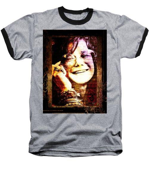 Janis Joplin - Upclose Baseball T-Shirt