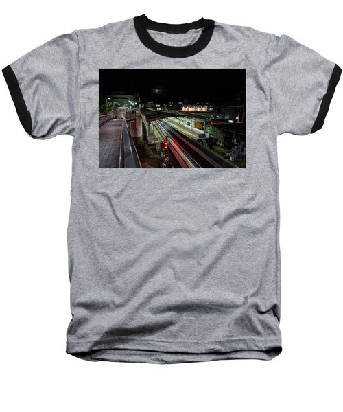 Japan Train Night Baseball T-Shirt