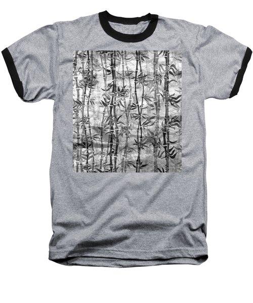 Japanese Bamboo Grunge Black And White Baseball T-Shirt