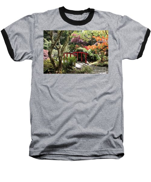 Japanese Garden Bridge With Rhododendrons Baseball T-Shirt
