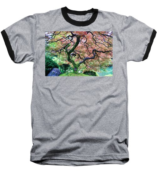Japanese Tree In Garden Baseball T-Shirt by Athena Mckinzie