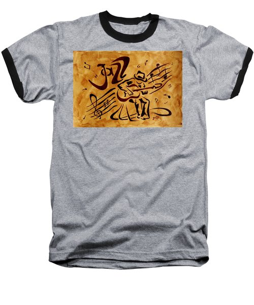 Baseball T-Shirt featuring the painting Jazz Abstract Coffee Painting by Georgeta  Blanaru