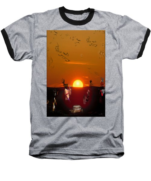 Baseball T-Shirt featuring the digital art Jazz Fest by Cathy Anderson