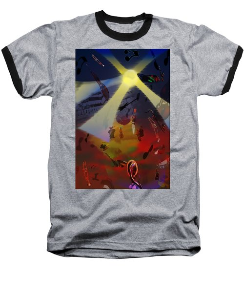 Baseball T-Shirt featuring the digital art Jazz Fest II by Cathy Anderson
