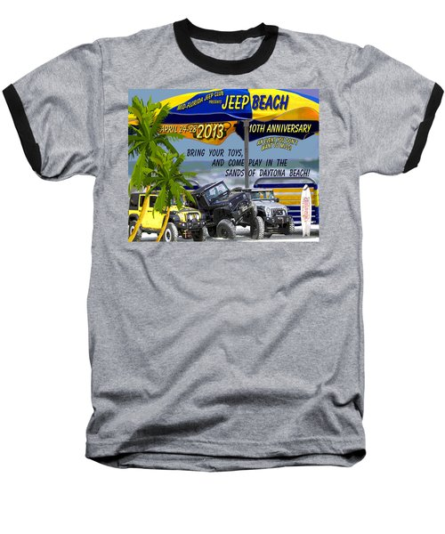 Baseball T-Shirt featuring the photograph Jeep Beach 2013 Welcomes All Jeepers by DigiArt Diaries by Vicky B Fuller