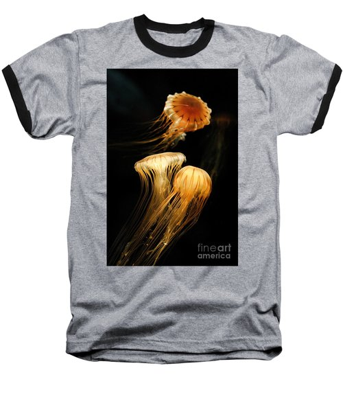 Jellyfish Trio Floating Against A Black Baseball T-Shirt
