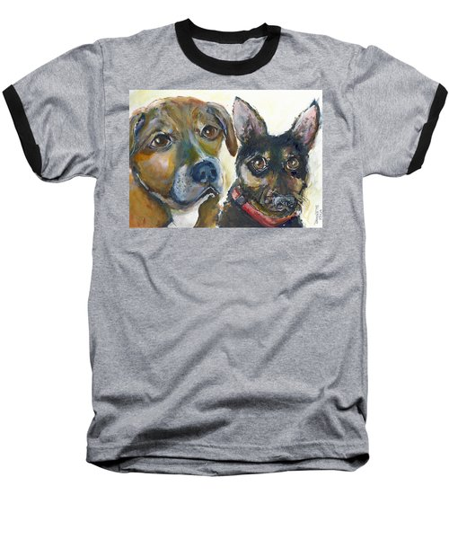 Baseball T-Shirt featuring the painting Jena And Dozer  by Bernadette Krupa