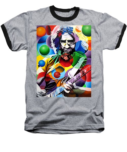 Jerry Garcia In Bubbles Baseball T-Shirt by Joshua Morton