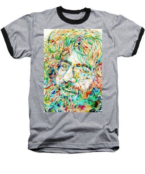 Jerry Garcia Watercolor Portrait.1 Baseball T-Shirt