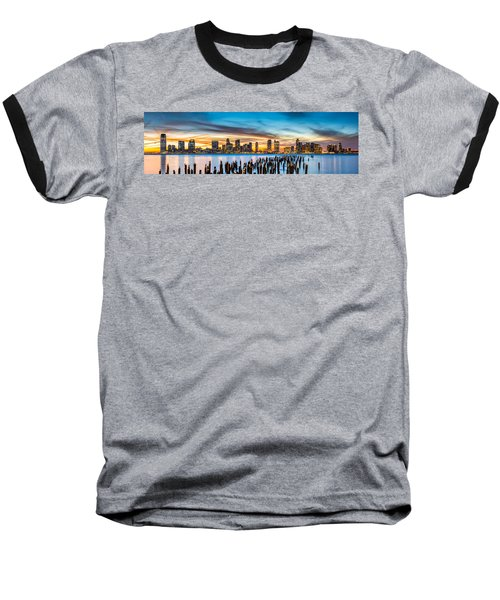 Jersey City Panorama At Sunset Baseball T-Shirt
