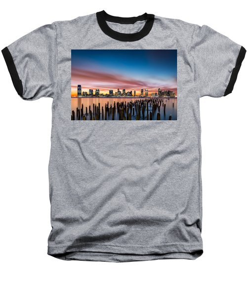 Jersey City Skyline At Sunset Baseball T-Shirt