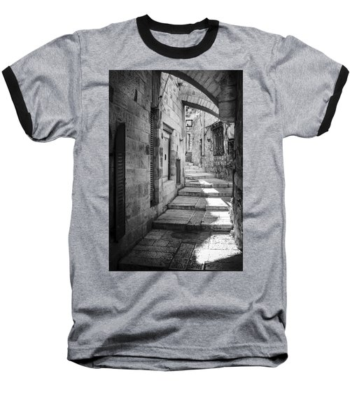 Jerusalem Street Baseball T-Shirt by Alexey Stiop