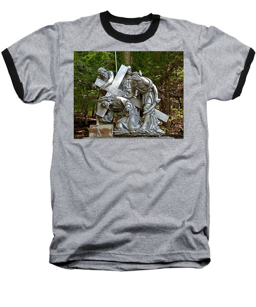 Jesus Falls The First Time Baseball T-Shirt by Terry Reynoldson