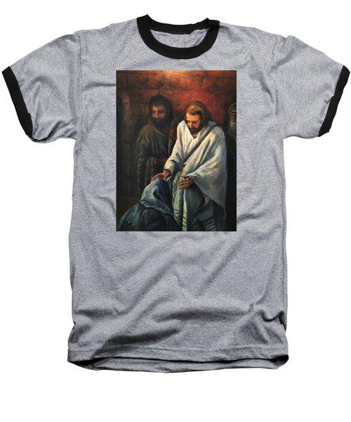 Jesus Healing Beggar Baseball T-Shirt by Donna Tucker