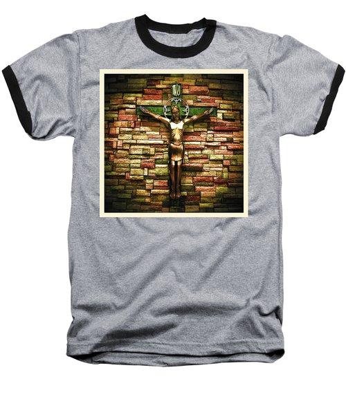 Jesus Is His Name Cream Border Baseball T-Shirt